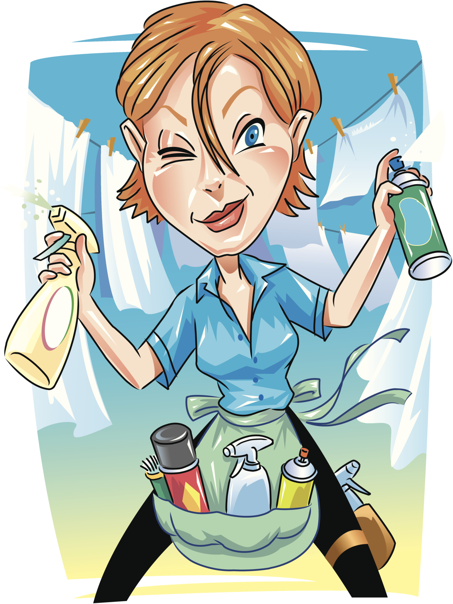 cleaning lady cartoon