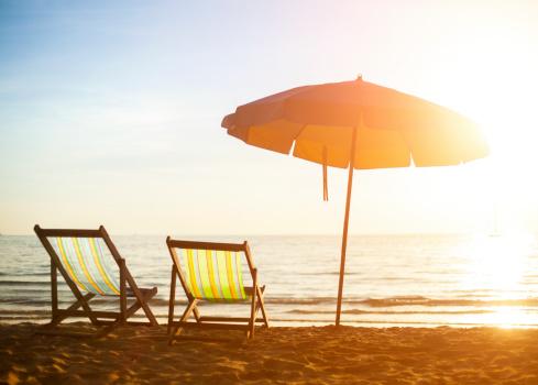 Beach empty chairs