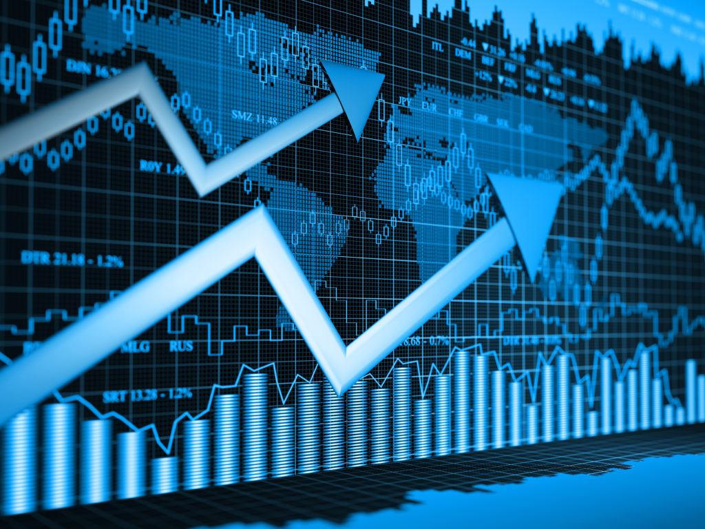 Financial charts abstract business graph and exchange rates 3d background
