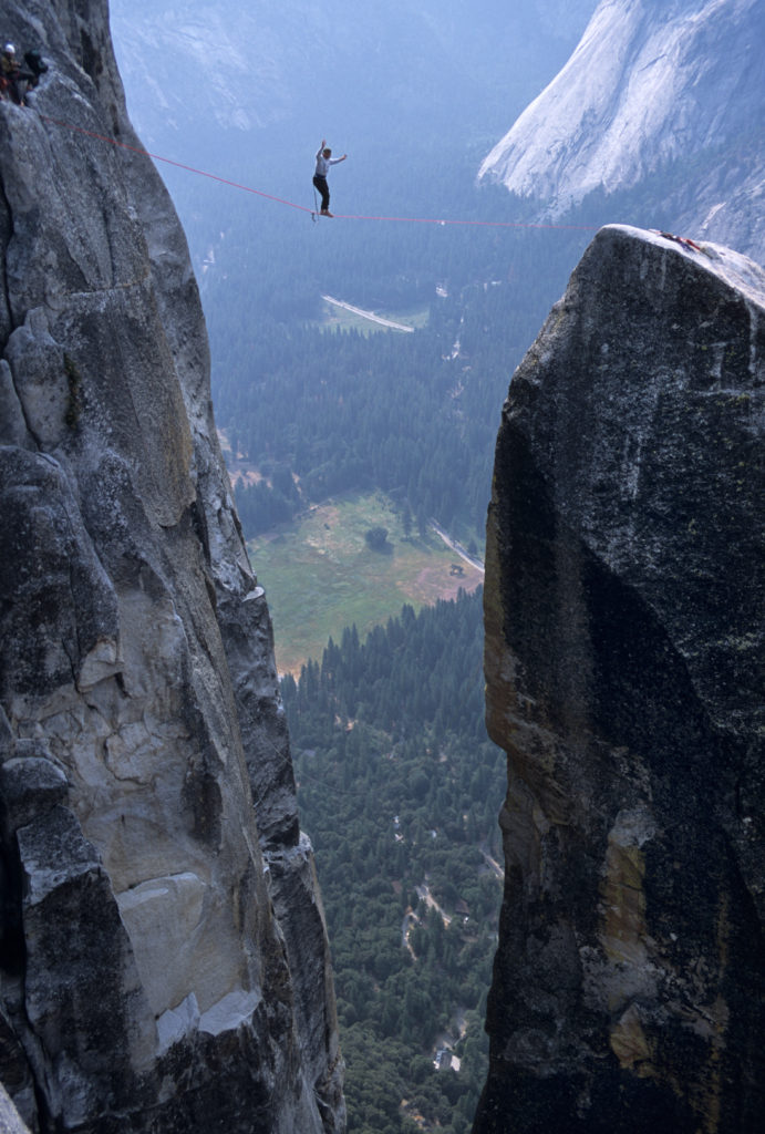 A very brave soul, balancing high above Yosemite Valley.
